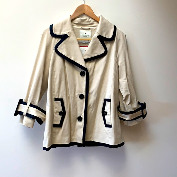 Kate Spade Cream and Black size L Swing Jacket.